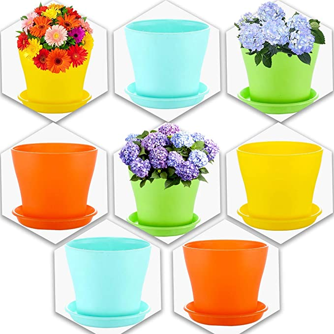 Kraft Seeds! Colourful, Attractive, Beautiful & Perfect Plastic Flower Pots with bottom plate(Set of 8)