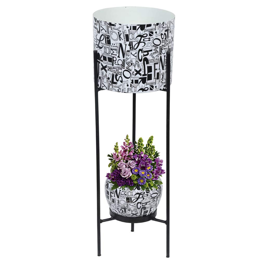 Graceful Metal Dual Pot Stand with 2 Metal White Planters for Indoor and Outdoor Plants White
