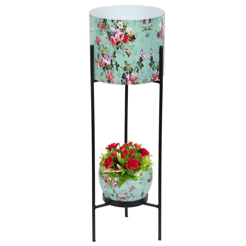Graceful Metal Dual Pot Stand with 2 Metal White Planters for Indoor and Outdoor Plants Green