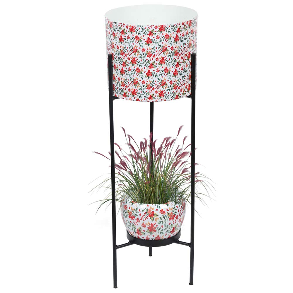 Graceful Metal Dual Pot Stand with 2 Metal White Planters for Indoor and Outdoor Plants Floral Print