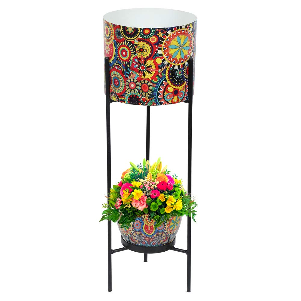 Graceful Metal Dual Pot Stand with 2 Metal White Planters for Indoor and Outdoor Plants Red