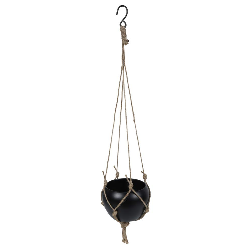 Metal Planter Black Colour with Jute Rope