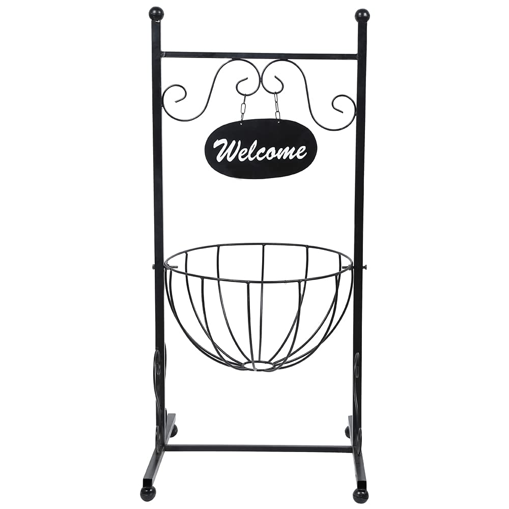 Welcome Planter Stand with Semi Spherical Hanging Metal Pot
