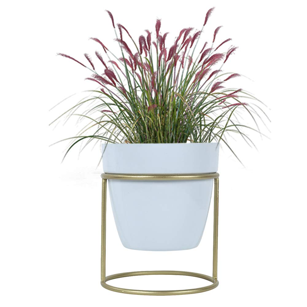 4 Inches Metal Planter with Small Metal Stand for Small Plants White