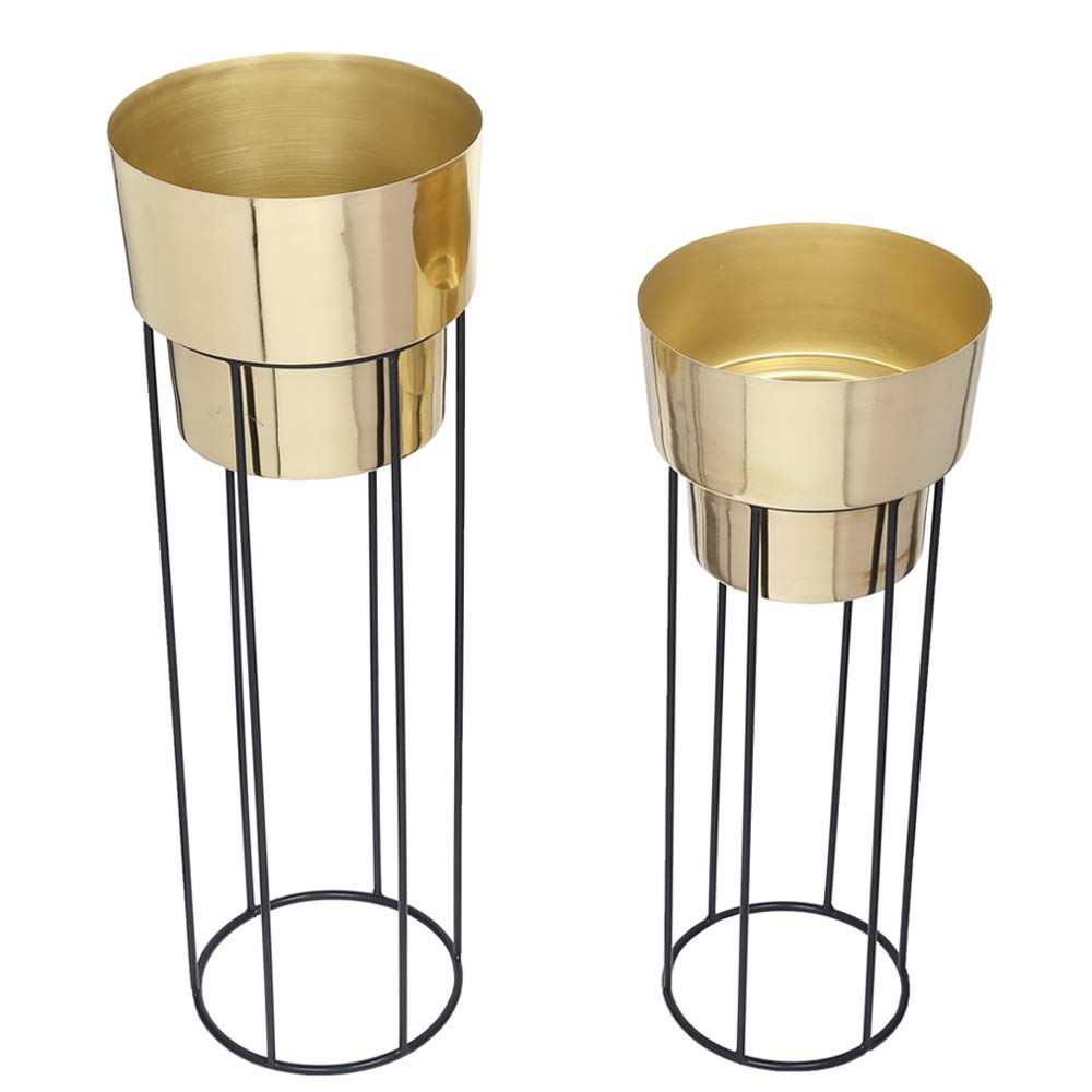 2 Classy Golden Metal Planters with Strong Metal Stand