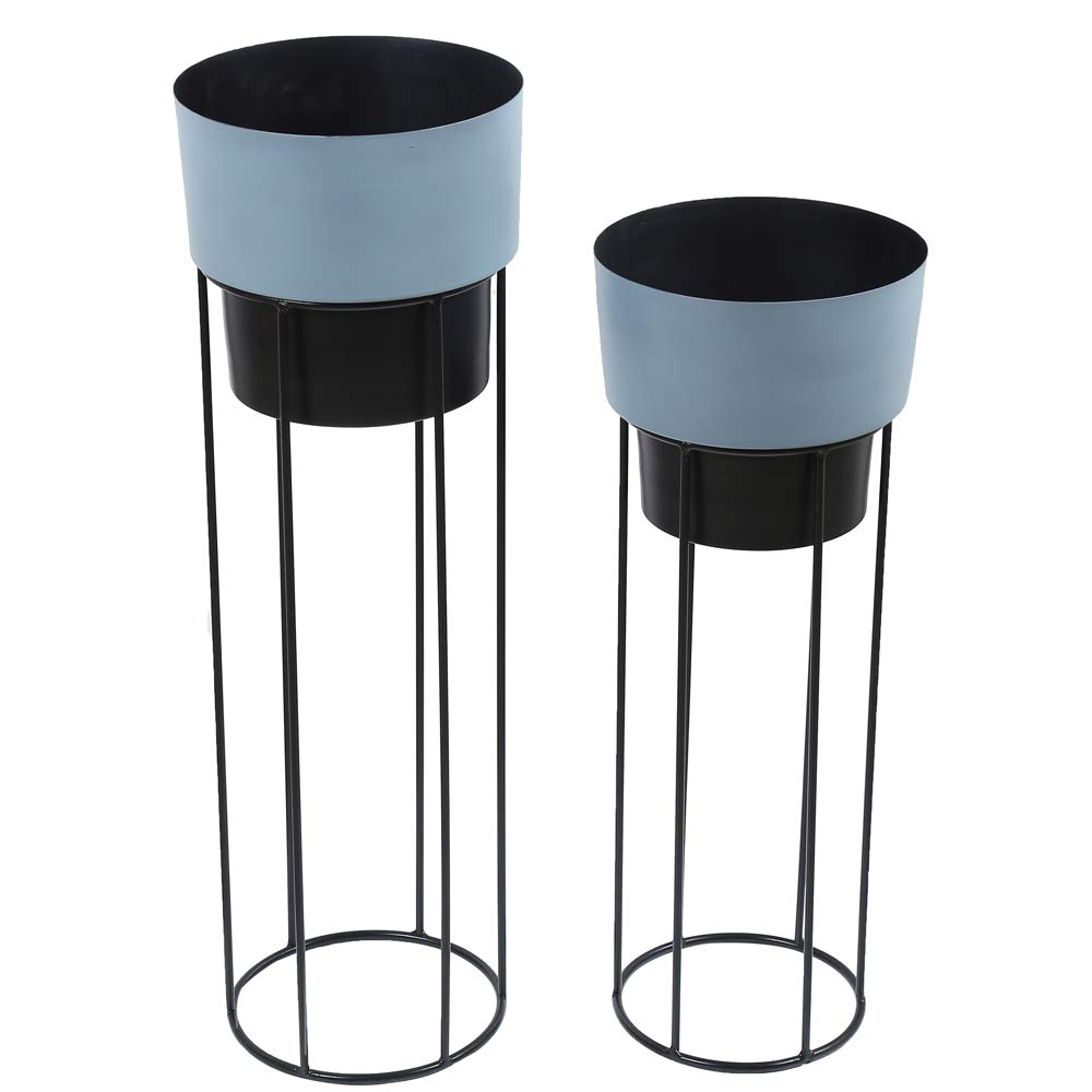 2 Classy Metal Planters Dual Colour with Strong Metal Stand