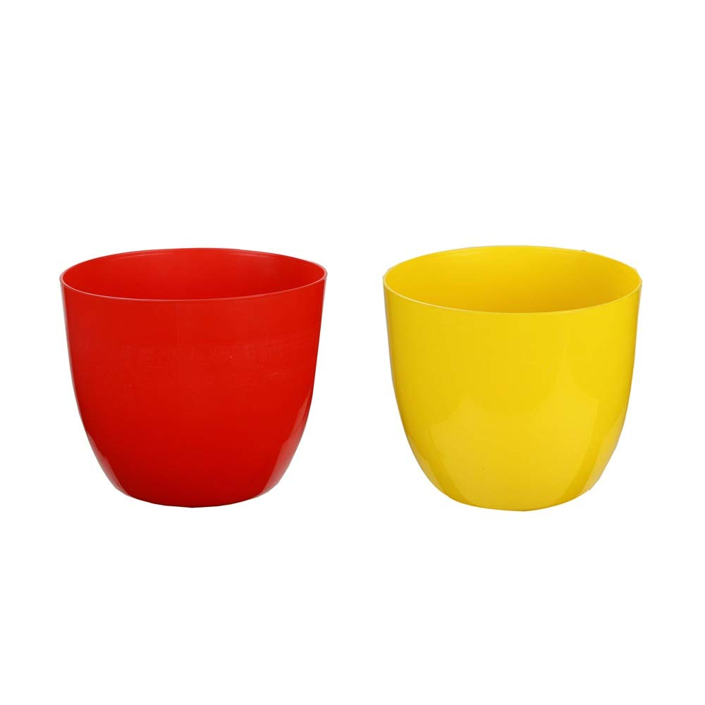 Kraft Seeds Planter Sunshine Elegance Round Solid Look and Feel Pots for Home & Balcony Garden 18.5cm Diameter (Pack of 2), Colorful Set