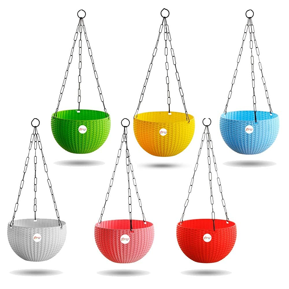 Kraft Seeds Hanging Planter Euro Elegance Round Solid Look and Feel Pots (Pack of 6), Colorful Set