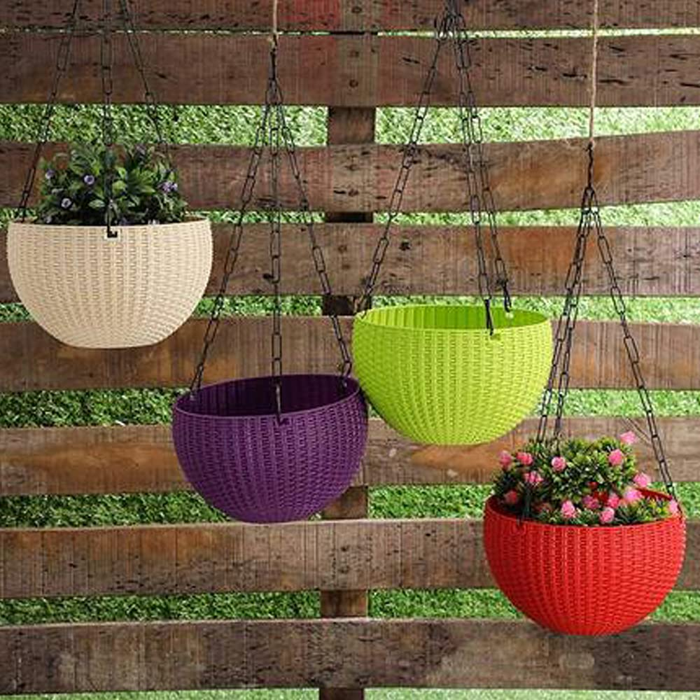 Kraft Seeds Hanging Planter Euro Elegance Round Solid Look and Feel Pots (Pack of 4), Colorful Set