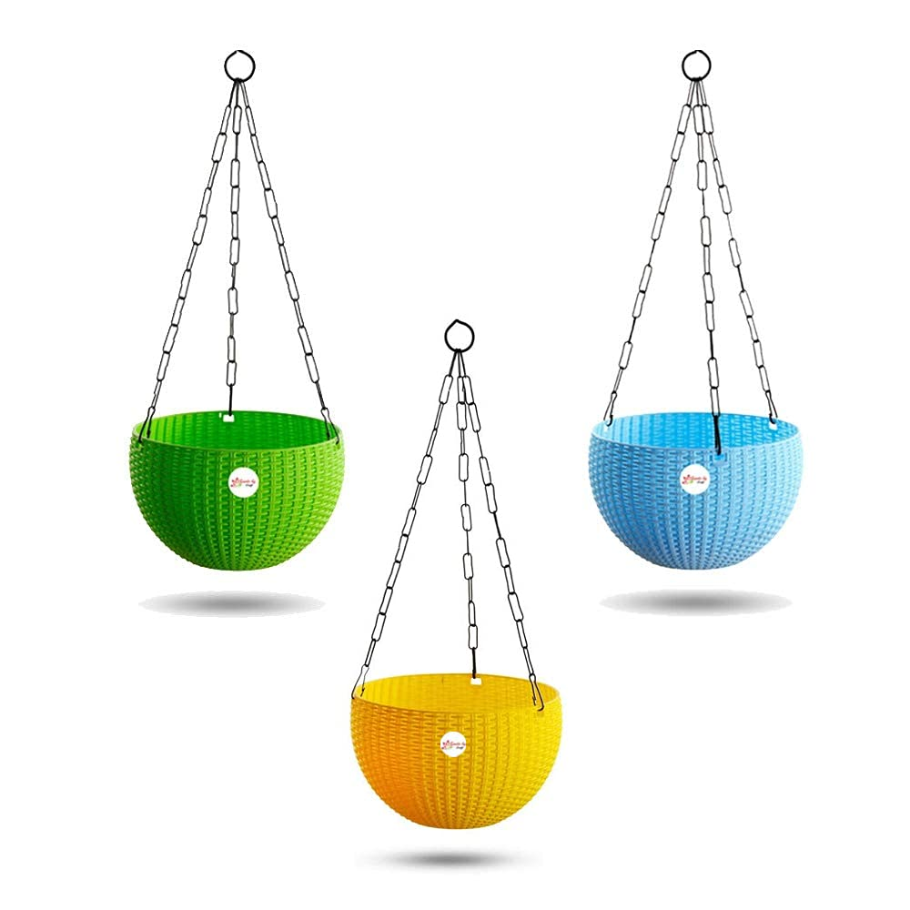 Kraft Seeds Hanging Planter Euro Elegance Round Solid Look and Feel Pots (Pack of 3), Colorful Set
