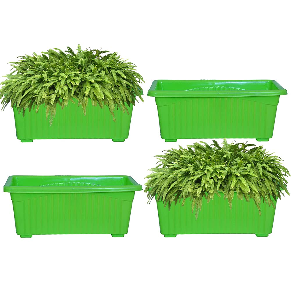Kraft Seeds Window Planter Bold Jupiter Solid Look and Feel Pots 16cm Green (Pack of 4)