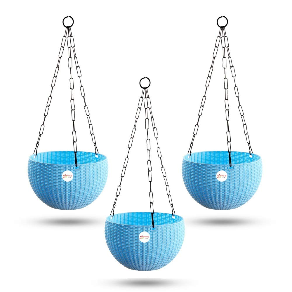 Kraft Seeds Hanging Planter Euro Elegance Round Solid Look and Feel Pots (Pack of 3) Blue