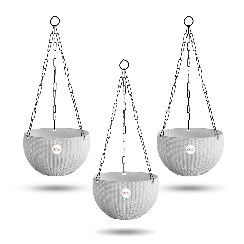 Kraft Seeds Hanging Planter Euro Elegance Round Solid Look and Feel Pots, 3 Pieces, White
