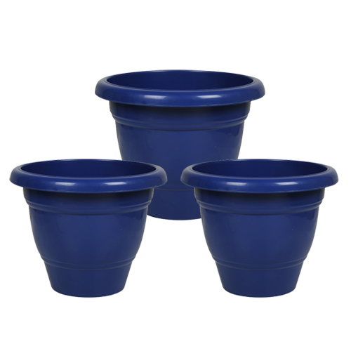 10 Inch Collar Pot - Pack of 3 - Blue