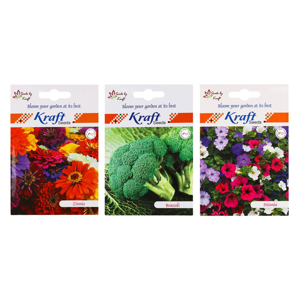 Kraft Seeds Zinnia Mix and Petunia Mix Flower and Broccoli 2 in 1 Vegetable Combo (Pack of 3)
