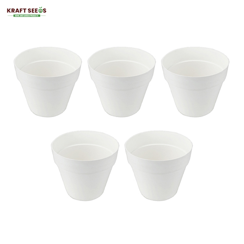 kraft-seeds-8-inch-ardhan-round-solid-look-and-feel-pots-for-home-balcony-garden-pack-of-5-white