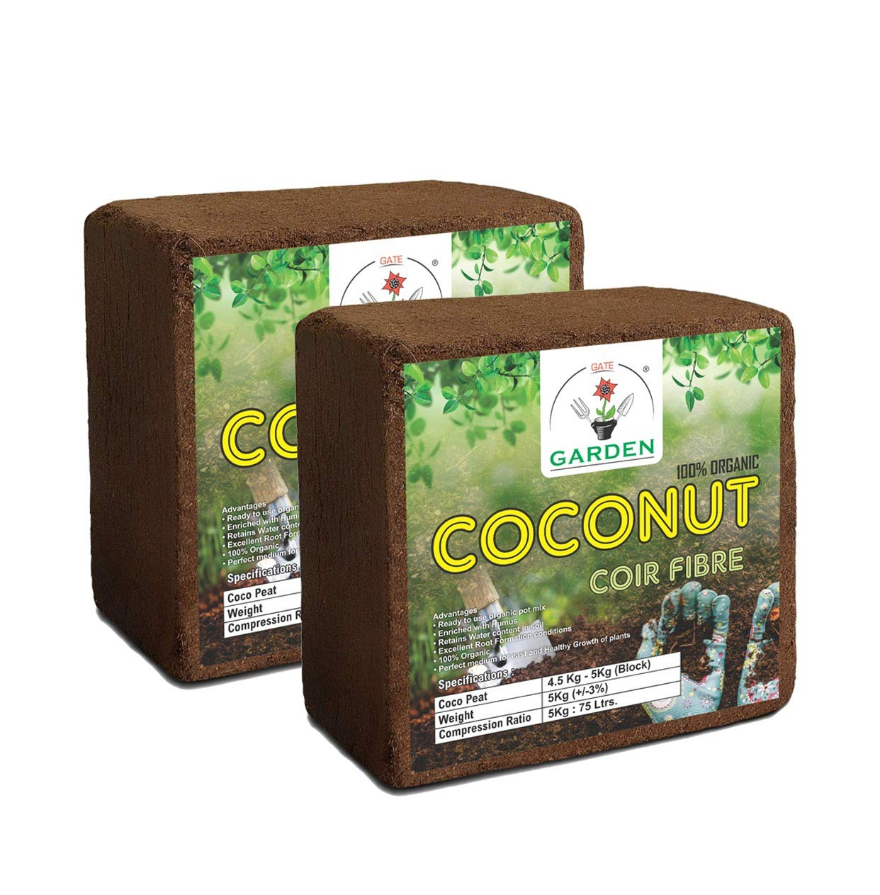 GATE GARDEN Cocopeat Block | Agropeat Block - Expands Up to 150 litres