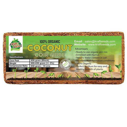 Cocopeat / Agropeat Use for Fast Germination, Growth and Water Retention 650gm - Low EC Seived Material