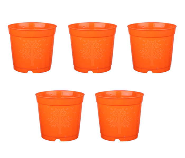 6-inch Plastic Seedlings Orange Colour Nursery Pot Planter Container Seed Starting Pot (5 pots)