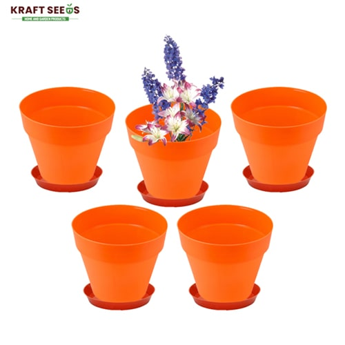 kraft-seeds-8-inch-ardhan-round-solid-look-and-feel-pots-for-home-balcony-garden-pack-of-5-with-bottom-plate-tray-orange