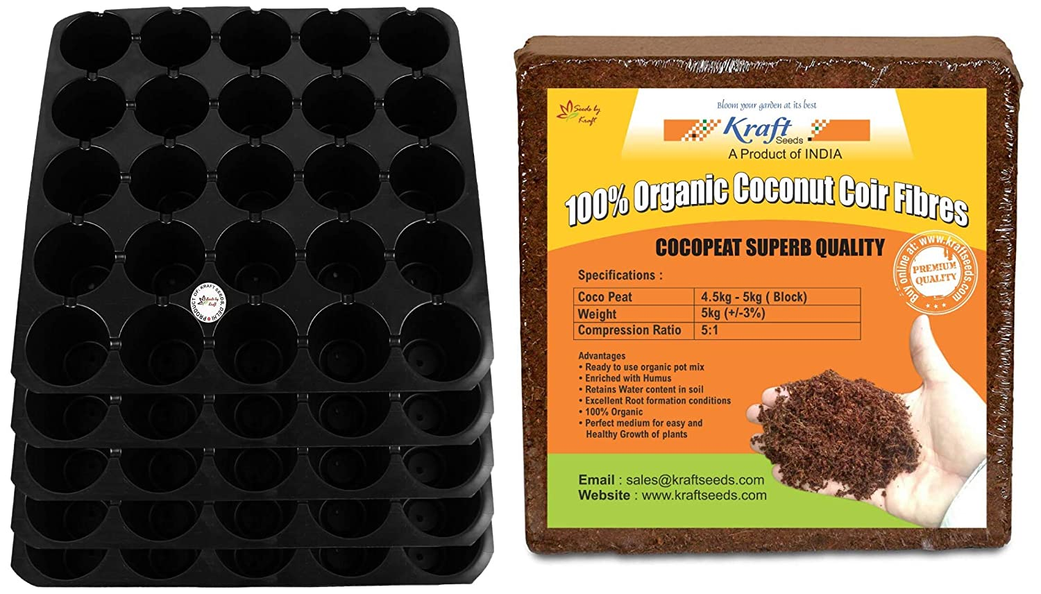 CocoPeat Block (5Kg) & Seedling Tray (25 Cavity - Pack of 5) Combo