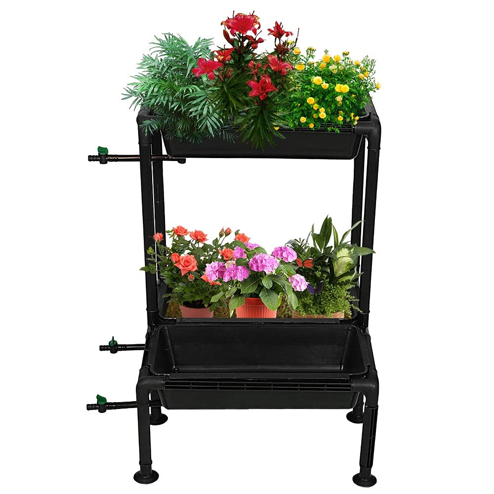 Kraft Seeds Growing Rack Stack Up Planter – Triple Tray Kit for Home Garden and Lawn Use