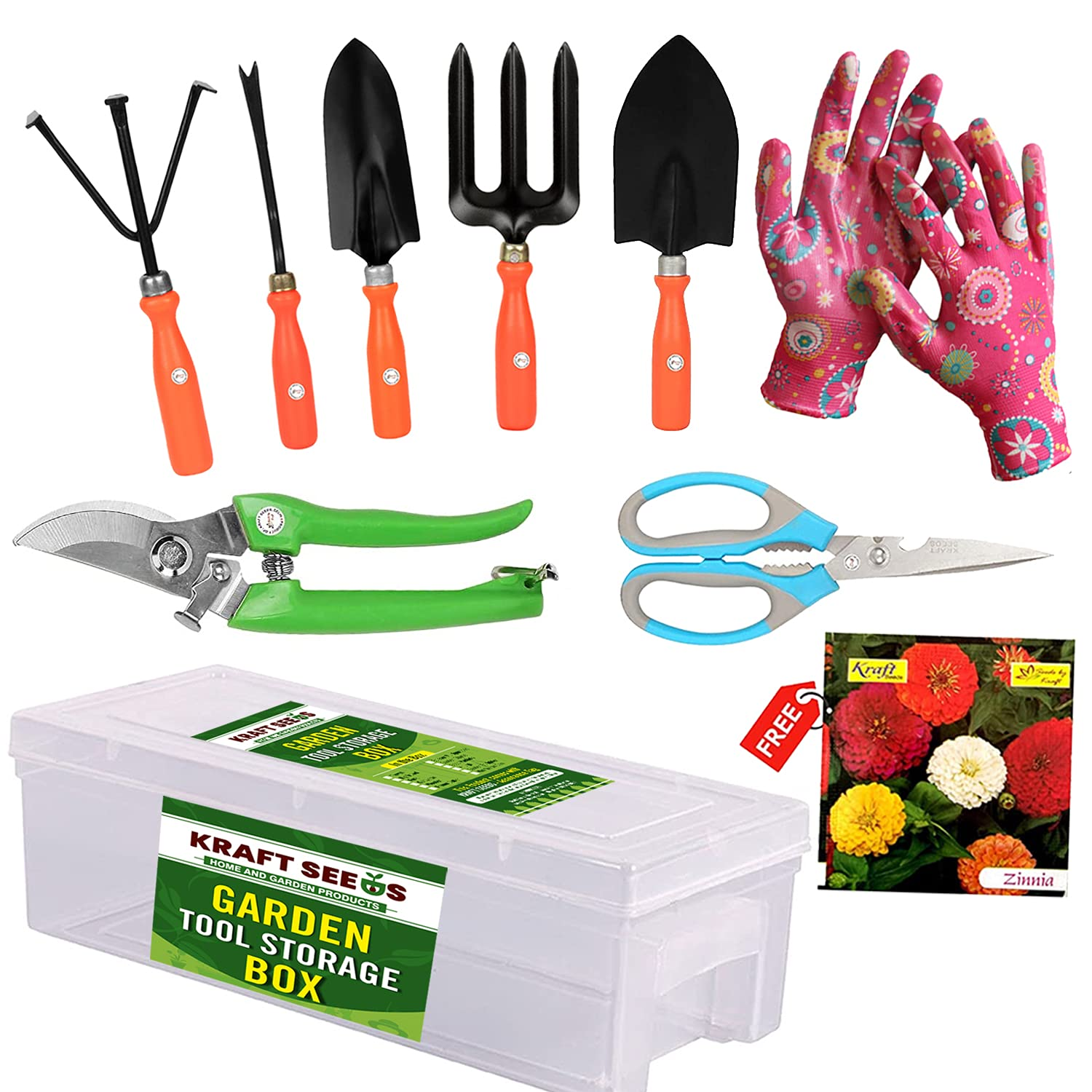 Kraft Seeds! Premium Gardening Tools Storage Box for Your Home and Garden | Gardening Tools Set with Gate Garden Spectacular Gardening Tools Set with Heavy Gardening Cut Tool and One Pair Hand Gloves
