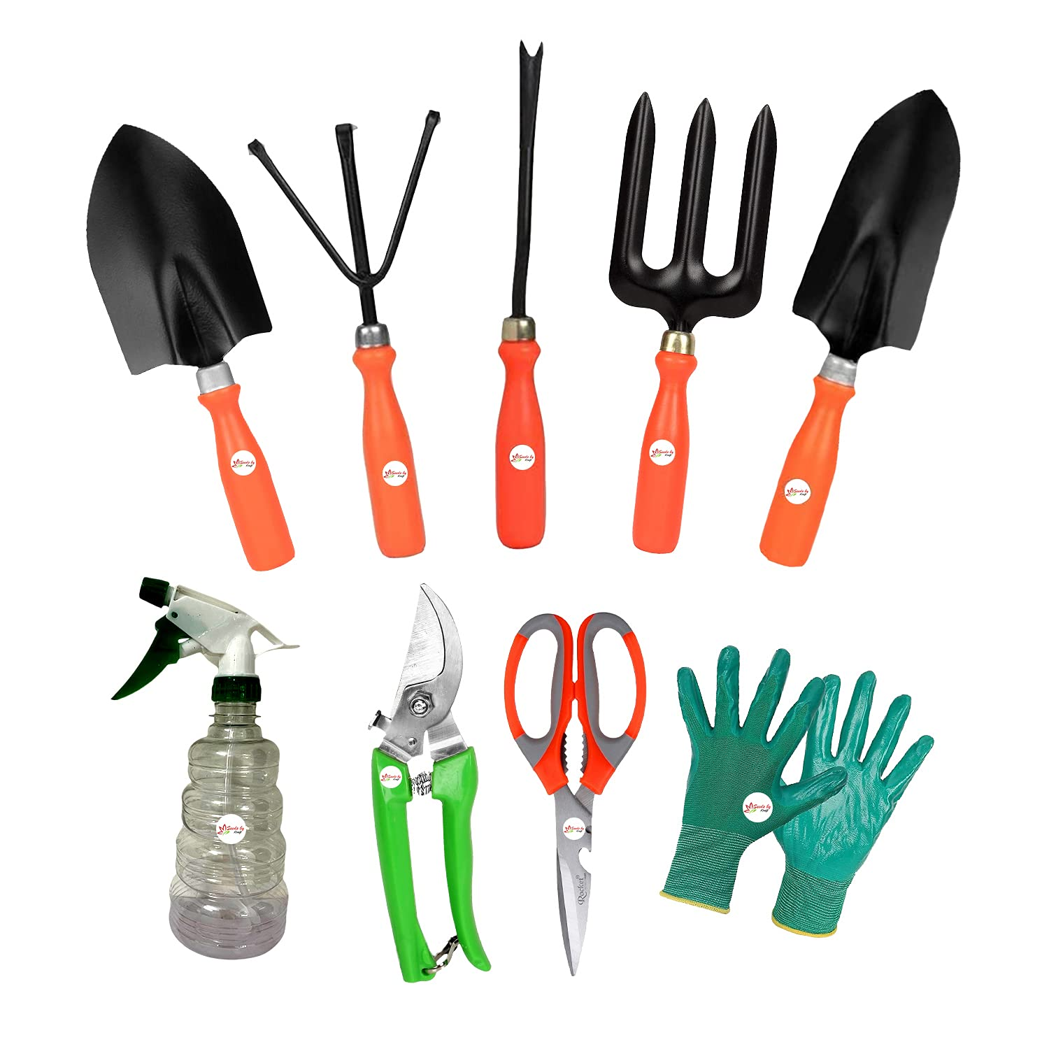 Kraft Seeds Garden Tool Kit with Scissors, Pruner and One Pair of Hand Gloves Comfortable and Durable with Spray Pump 500ml (Set of 9) Free Veg Seed Packet