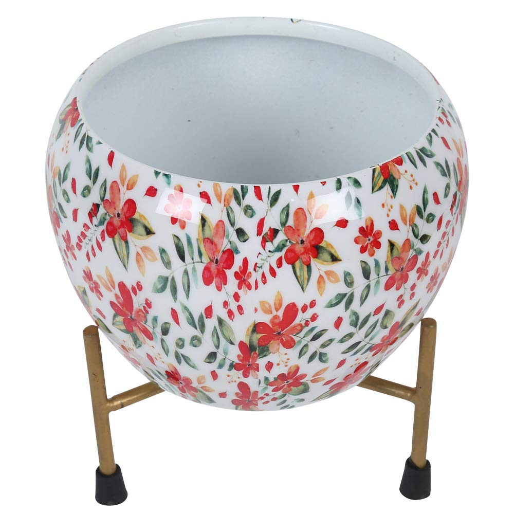 5 Inch Metal Stylish Printed Planter with Tripod Metal Stand Floral Printed