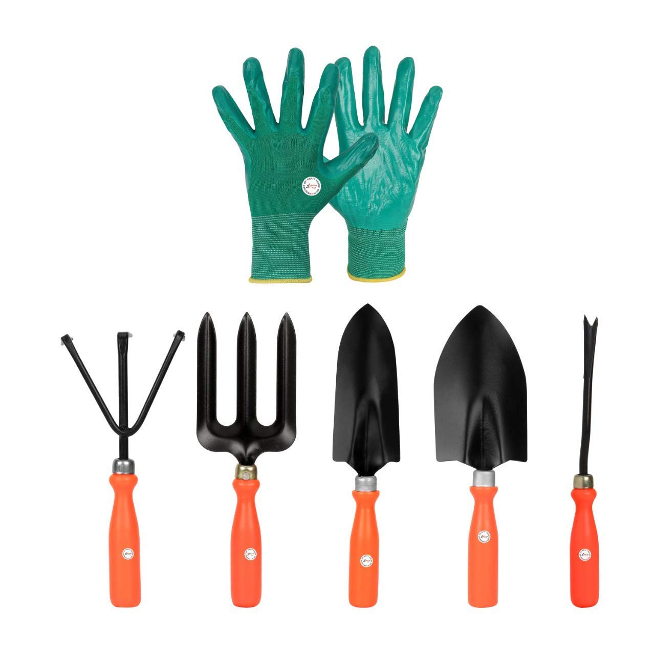 Kraft Seeds 5 Best Gardening Hand Tools Set with One Pair Hand Gloves for Your Garden, orange handle and black metal (Gate-001)