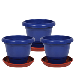 10 Inch Collar Pot with Bottom Plate - Pack of 3 - Blue