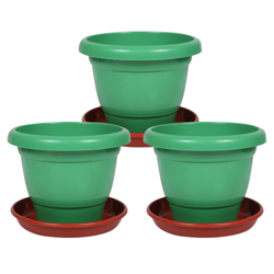 12 Inch Collar Pot with Bottom Plate  - Pack of 3 - Green