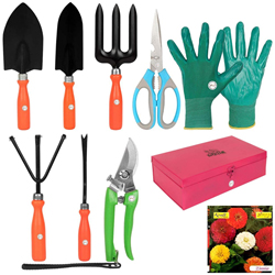 Set of 8 Garden Tools in a Metal Box