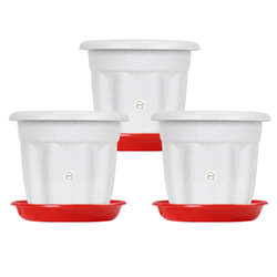 10-inch Victoria Pot with Bottom Plate - Pack of 3 - White