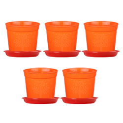 6-inch Plastic Seedlings Orange Colour Nursery Pot Planter Container Seed Starting Pot (5 pots+ Tray)