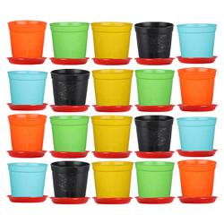 6-inch Plastic Seedlings Multi Colour Nursery Pot Planter Container Seed Starting Pot (20 pots+ Tray)