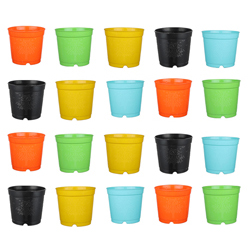 6-inch Plastic Seedlings Multi Colour Nursery Pot Planter Container Seed Starting Pot (20 pots)