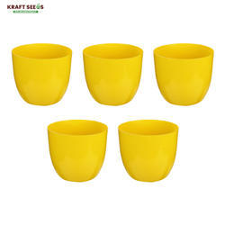 7-inch,  Planter Sunshine Elegance Round Solid Look and Feel Pots for Home & Balcony Garden (Set of 5 pots ) Colour Yellow
