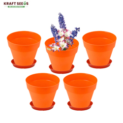 Kraft Seeds 8 Inch,  Ardhan Round Solid Look and Feel Pots for Home & Balcony Garden (Pack of 5 With Bottom Plate/Tray ) Orange