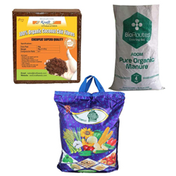 Kraft Seeds Vermicompost 4kg & Cocopeat 4kg & 4kg Organic Manure in One Box Trio Organic Manure Pack -Expands Upto 150Ltrs of Manure